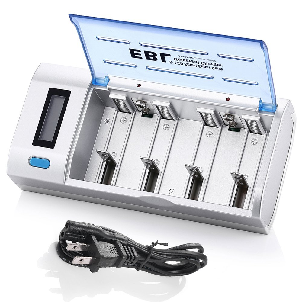 EBL Smart <font><b>Battery</b></font> <font><b>Charger</b></font> for C D <font><b>AA</b></font> <font><b>AAA</b></font> <font><b>9V</b></font> Ni-MH Ni-CD Rechargeable <font><b>Batteries</b></font> with Discharge Function & LCD Display image