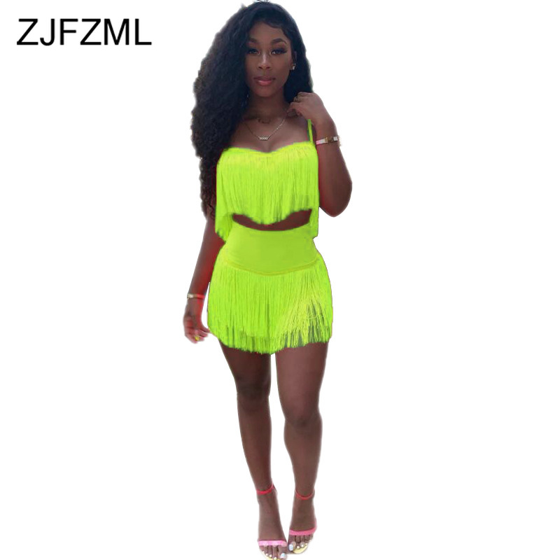 Neon Green Pink Tassels Two Piece Sets Women <font><b>Festival</b></font> Clothes Spaghetti Strap Backless Crop <font><b>Top</b></font> And <font><b>Bandage</b></font> Mini Skirts Outfits image