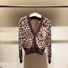 Fashion womens knitted coat 2019 Fall leopard cardigans A626