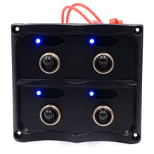 Check Discount 1PC Universal 4 Gang Waterproof Car Auto Boat Marine LED Switch Panel Circuit Breakers Blue Light Accessories Car Styling