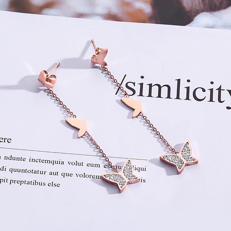 Fashion Crystal Tassel Earrings Rose Gold Butterfly Long Drop Dangle Earrings For Women Jewelry Boucle D'oreille Pretty Brincos