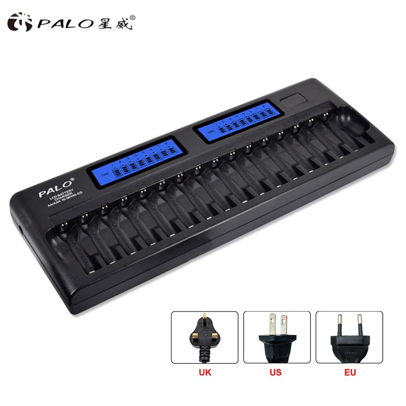 цена на 16 slots PALO Fast charger DP-K106 2-LCD Built-In IC Protection Intelligent Rapid Battery Charger for 16 pcs 1.2V AA/AAA Ni-MH/
