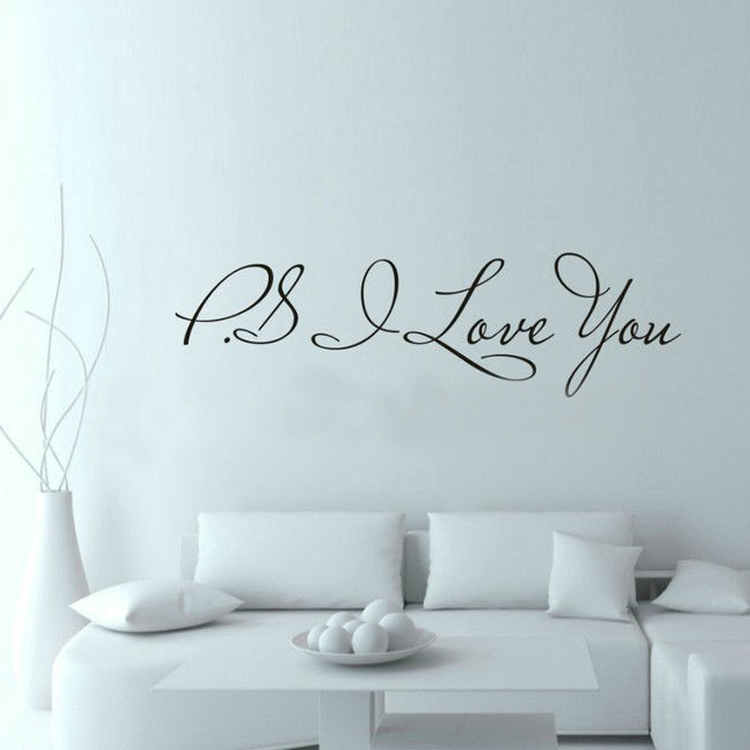 PS I Love You - Wall Art Decal - Home Decor - Famous & Inspirational Quotes Living Room Bedroom Removable Wall Stickers ZY8017