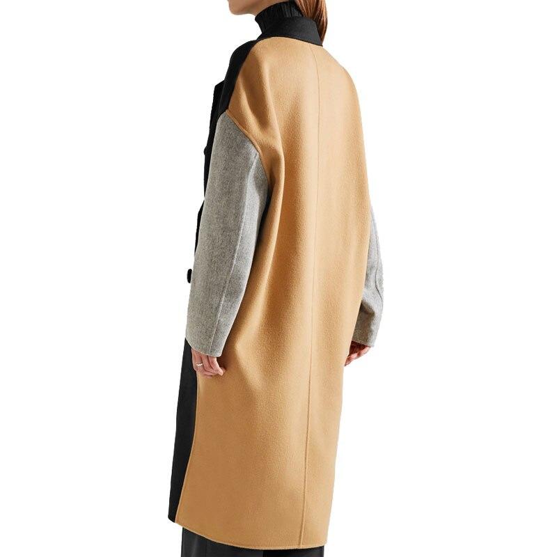 Femelle Multi Poitrine Lâche Bouble Longue Couleur Automne coat Manteaux Contraste Femmes Hiver Oversize Vacances Coupe Trench Vêtements Patchwork nYqFwv1T
