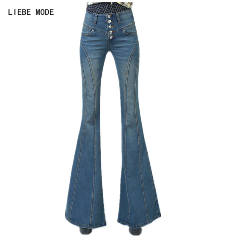 Woman High Waist Flare Jeans Pants Sexy Ladies' Wide Leg Denim Pants Plus Size Women Jeans Femme 2016 female jeans 2016 spring and autumn korean new fashion slim elastic high waist large flare pants plus size wide leg denim jeans