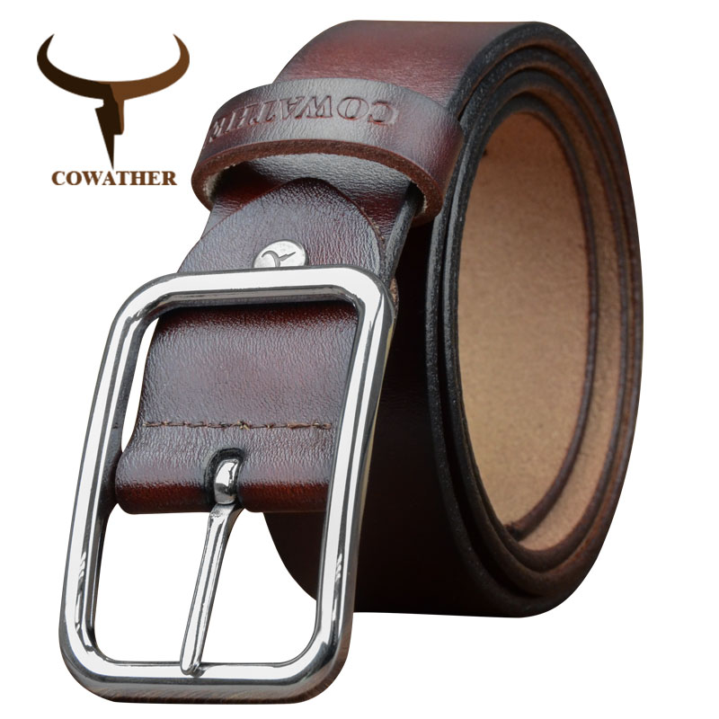 COWATHER   belt   for men cow genuine leather men   belts   cowhide fashion male strap alloy buckle luxury straps free shipping XF028