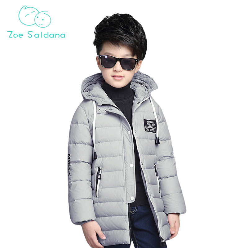Zoe Saldana Boy's Coat 2017 New Winter Baby Boy Clothes Down Cotton Solid Thicken Casual Parkas Teenager Boys Warm Hooded Coats zoe saldana 2017 women winter jacket down cotton padded coats casual warm winter coat turn down collar long loose parkas