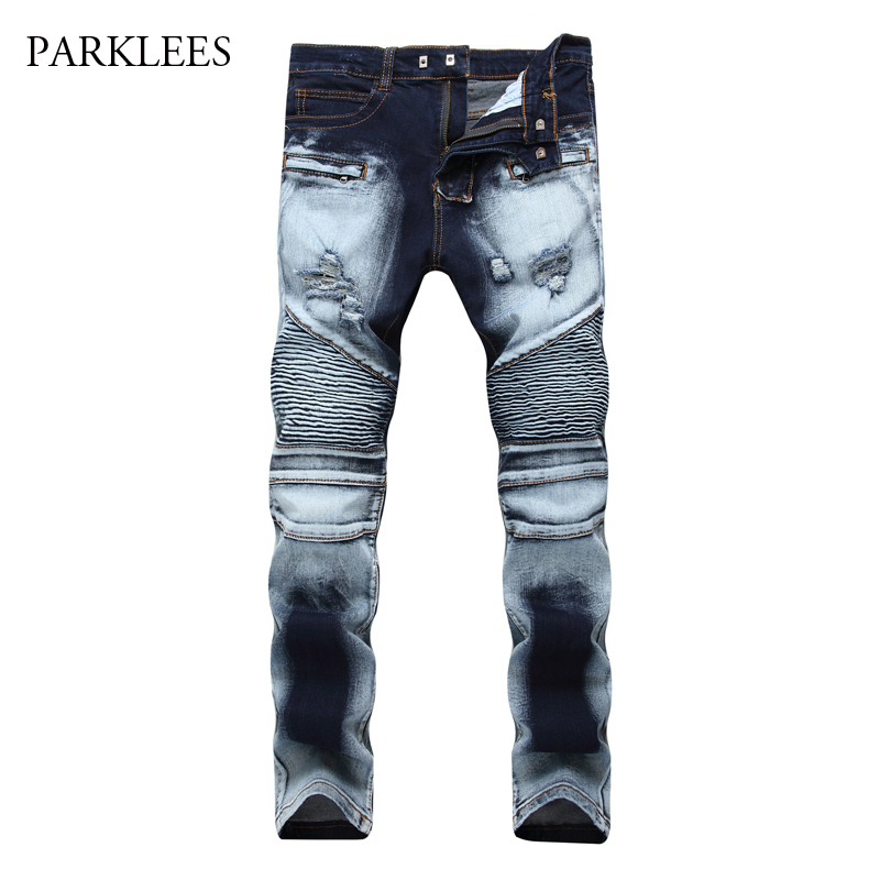 Brand Biker Jeans Men 2017 Autumn Casual Washed Cotton Fold Skinny Ripped Jeans Hip Hop Elasticity Slim Denim Jeans Pants Homme