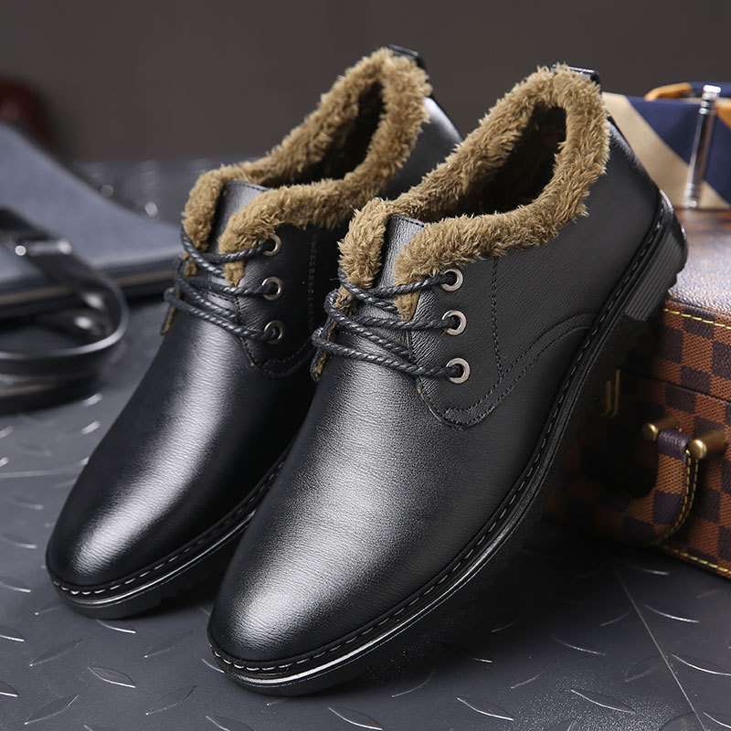Autumn Winter 2017 New Warm Dress Shoes Sewing Mens Leather Plush Formal Sapato Social Masculino High
