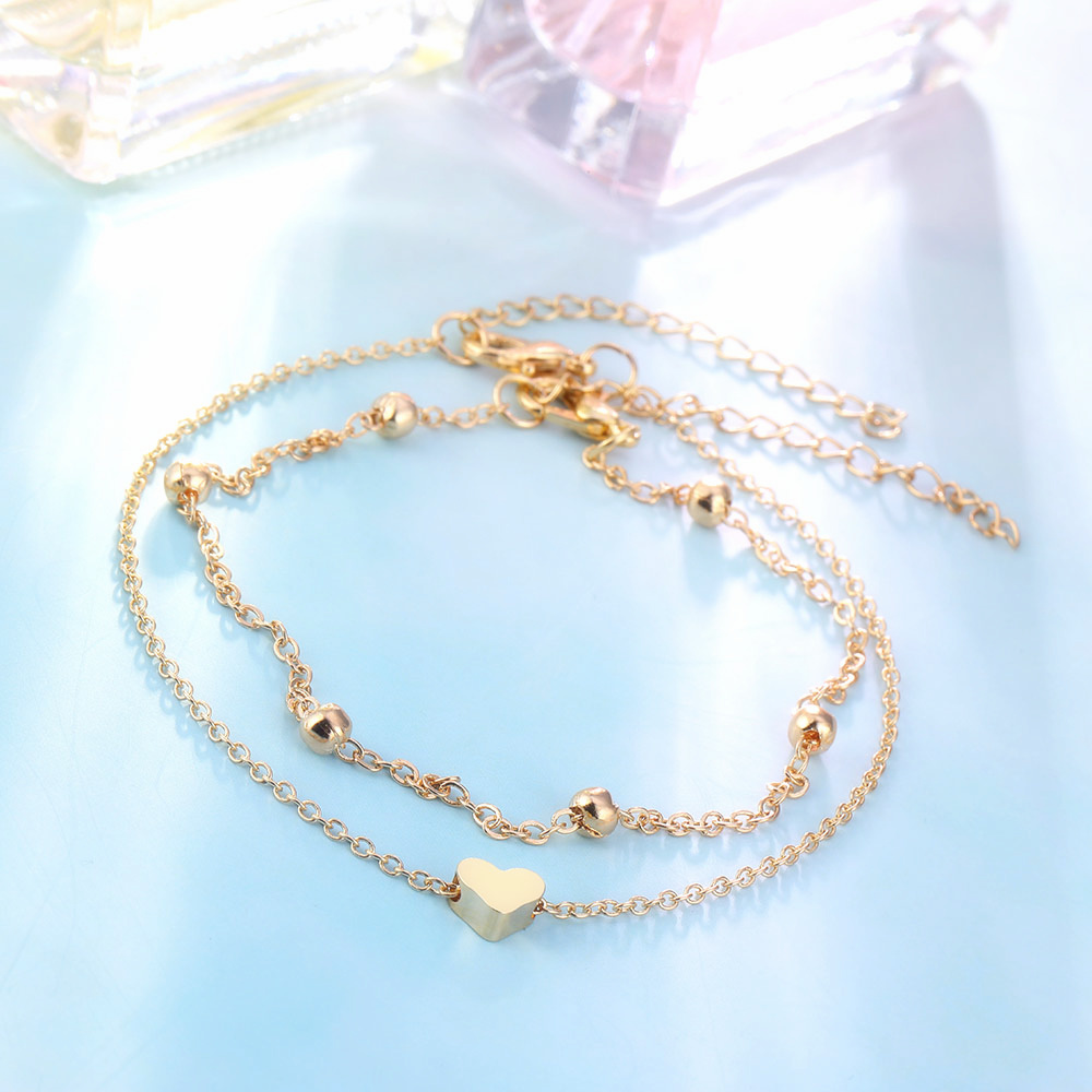Simple Heart Ankle Layering Pendant Anklet Beaded Foot Jewelry Summer Beach Anklets On Foot Ankle Bracelets For Women Leg Chain 8