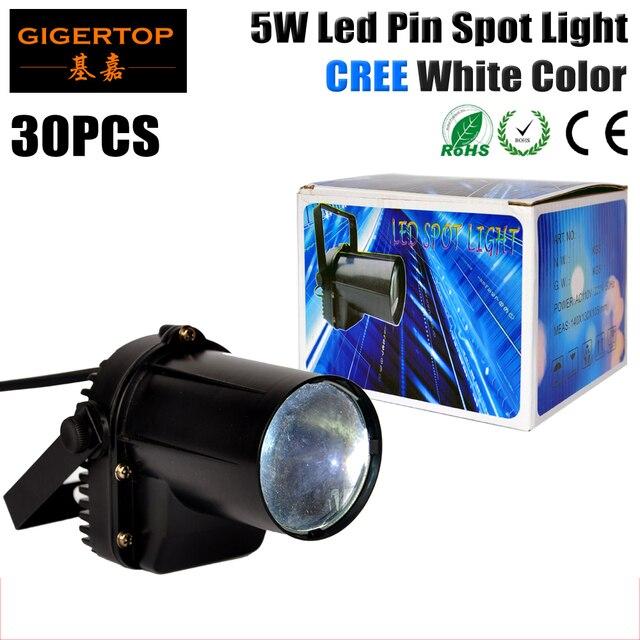 By Fedex 30pcs/lot 5W Cree LED Pin Spot Light LED DJ Stage Spot Effect Light DMX Mini Spotlight Rain Light For Party Wedding