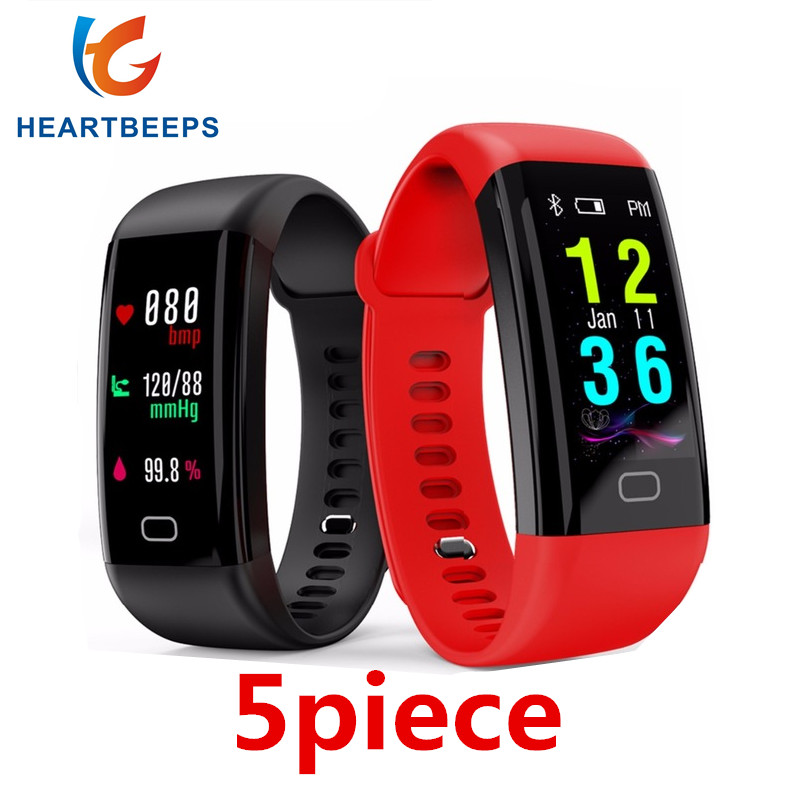 5piece F07 Waterproof Smart Bracelet Heart Rate Monitor Blood Pressure Fitness Tracker Smartband Sport Watch for ios android