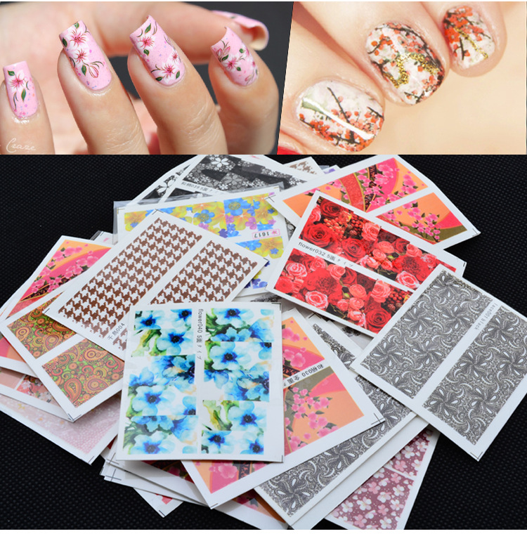 50 keping Nail Art Water Transfer Mixed Design Sticker Watermark Decals Hiasan DIY Untuk Kecantikan Manicure Nail Tools Templat