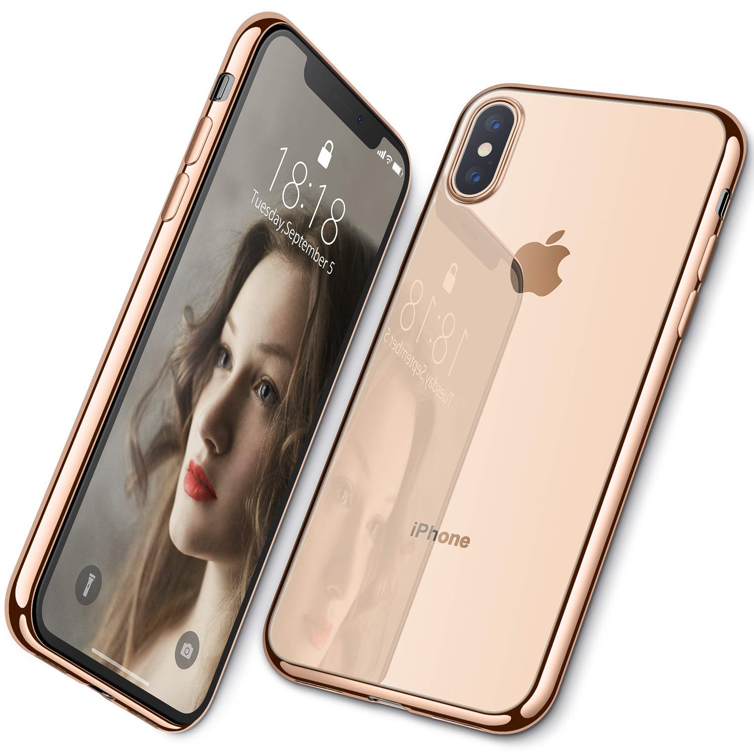 Für <font><b>iPhone</b></font> <font><b>XS</b></font> <font><b>Max</b></font> <font><b>XS</b></font> XR Fall, WEFOR Ultra Slim Thin Klar Weiche Premium Flexible Chrome Bumper Transparent TPU Zurück Platte Abdeckung image