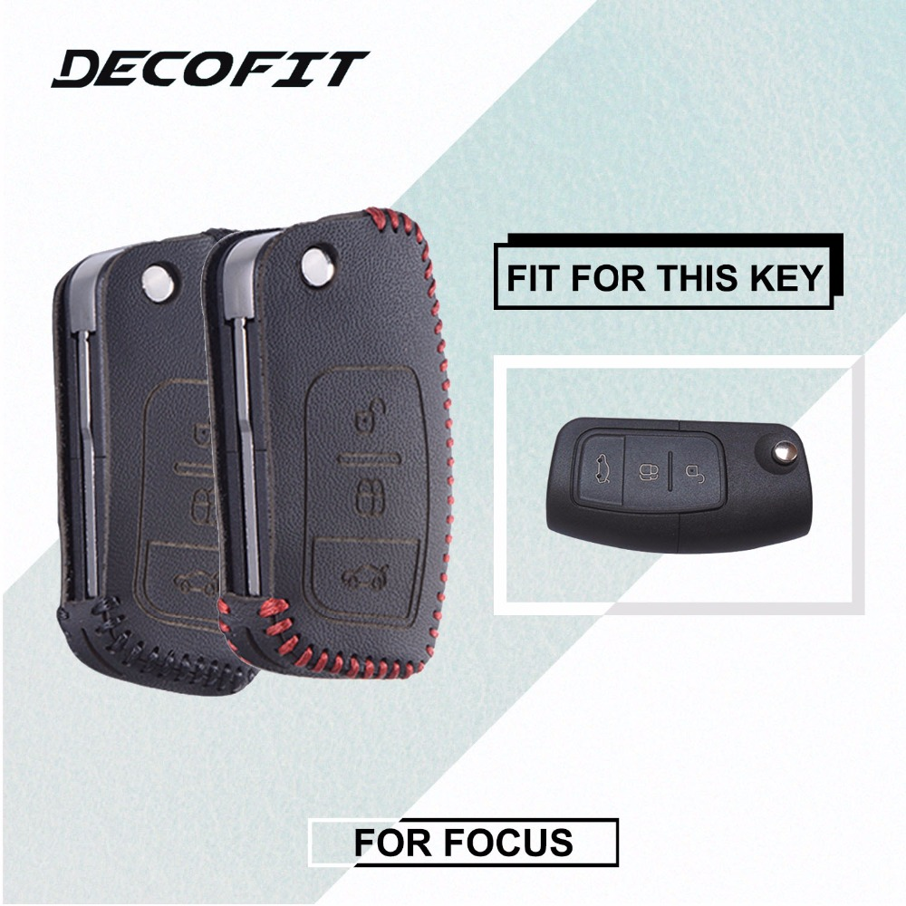 Leather Key Cover for Ford Focus 2 3 4 MK2 MK3 MK4 Kuga Edge Mondeo Escape Escort Ecosport Fiesta Remote Keybag Fob