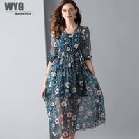 100 Real Silk Dress 2019 Spring Summer V neck Adjustable Shirred High Waist Half Sleeve A lined Yellow Pink Green Floral Dress