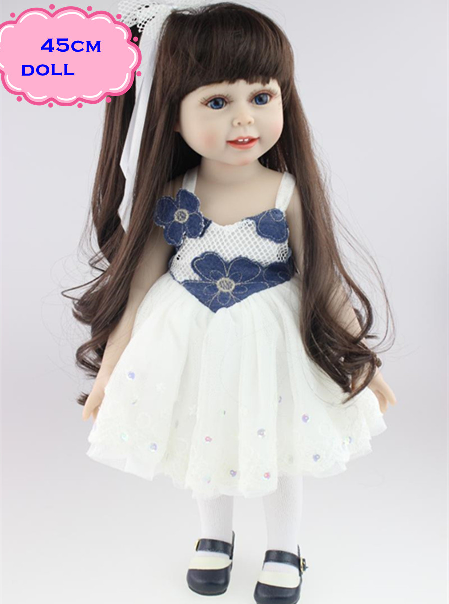 18inch High Quality Handmade American Girl Doll Made Of Full Vinyl Safe Silicone Lifelike Baby Dolls For Kids New Year's Gifts lifelike american 18 inches girl doll prices toy for children vinyl princess doll toys girl newest design