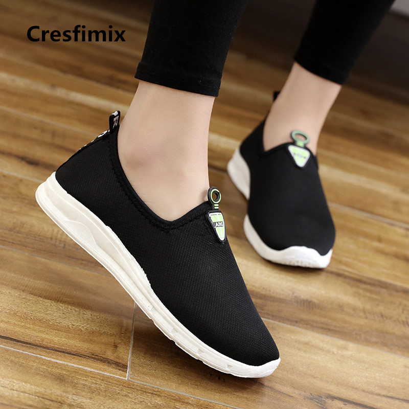 Cresfimix zapatos de mujer women cute black breathable flat shoes lady comfortable slip on shoes leisure cool grey shoes a427 women cool mesh breathable shoes female sport and outdoor soft bottom shoes lady casual slip on shoes zapatos de mujer