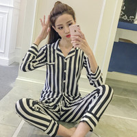 Pajamas Women Long Sleeved Cardigan Cotton Sleepwear Lady Home Furnishing Clothing Suit Black And White Striped