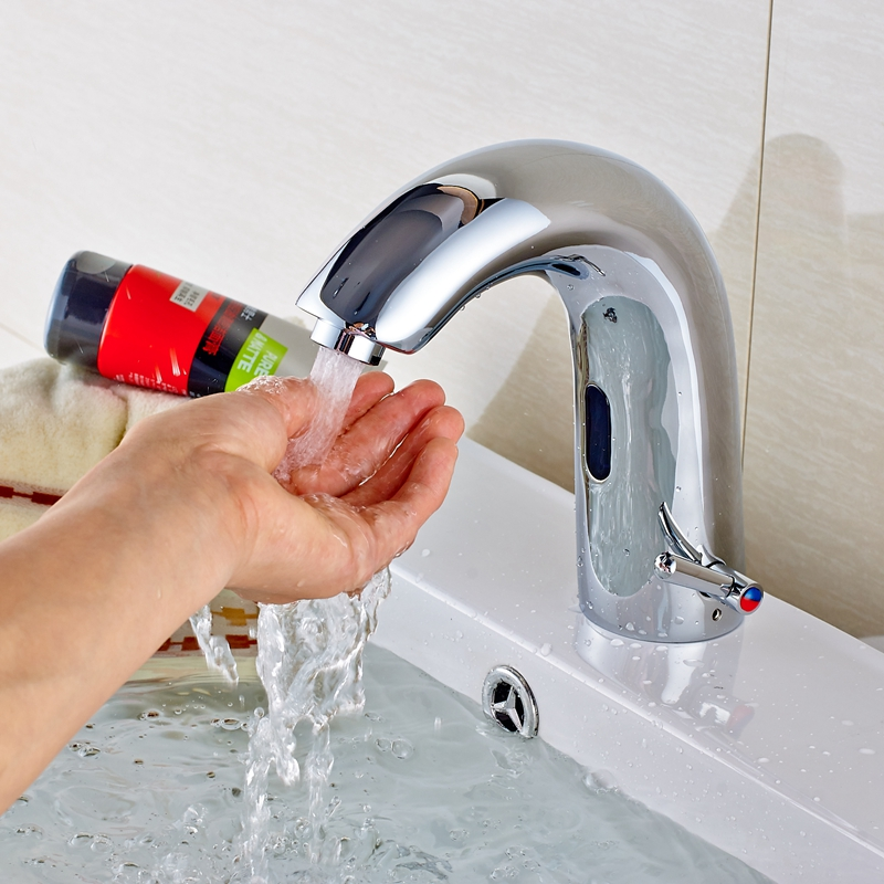 Automatic Sensor Bathroom Basin Faucet Hot Cold Sink Mixer Tap Touchless Faucet цена