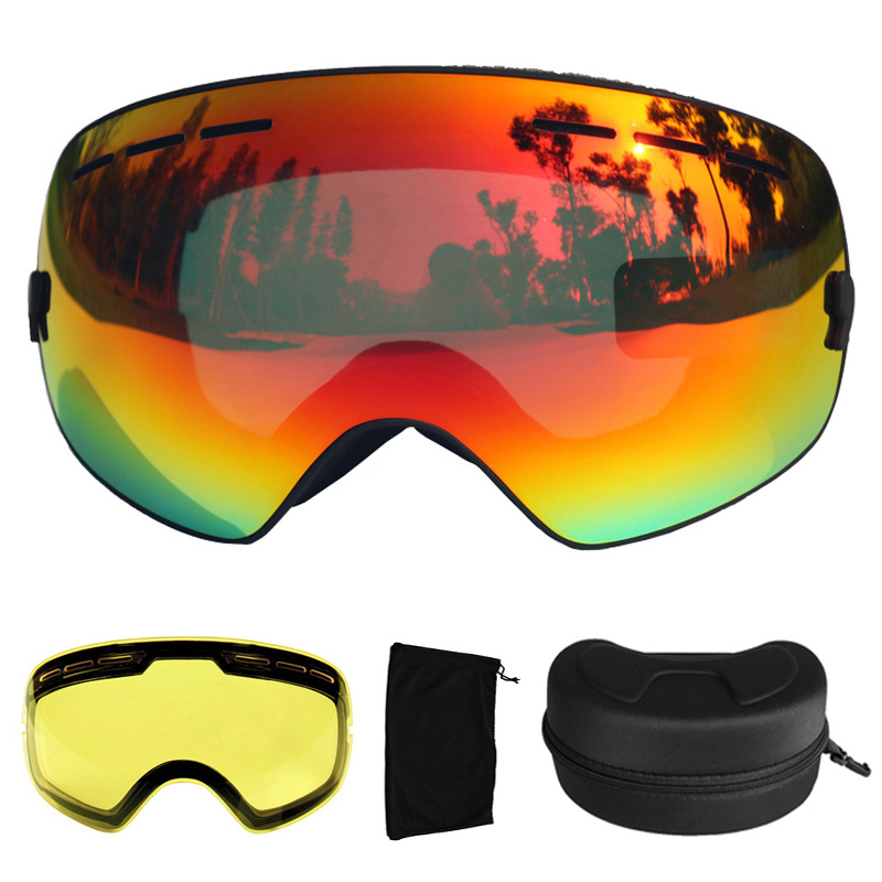 UV400 Ski Goggles Anti-fog Ski Glasses Double Lens Snow Skiing Snowboard Goggles Ski Eyewear With Extra Lens and Box polisi winter snowboard snow goggles men women double layer large spheral lens skiing glasses uv400 ski skateboard eyewear