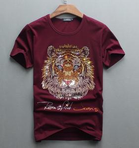 Image 4 - Роскошный дизайн бриллиантов, 100% хлопок, мужские футболки, дизайнерская мужская футболка