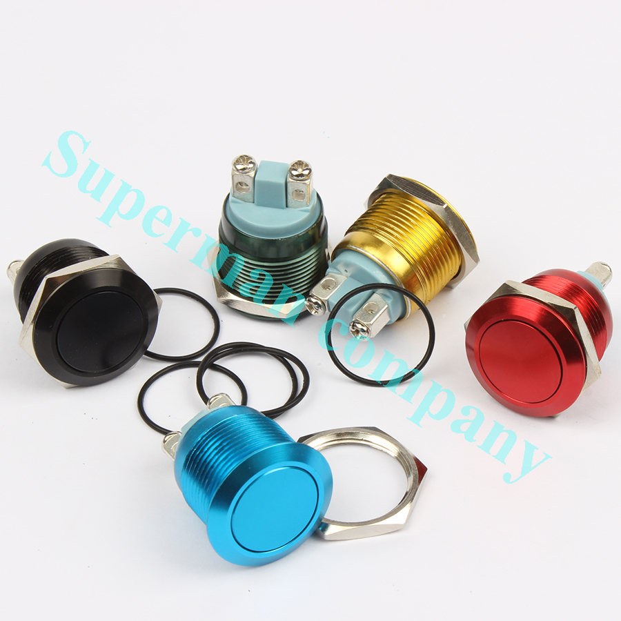 19mm Metal Oxidized Push Button Switch 1NO auto reset press button screw terminal  flat round momentary black blue 19QYPY.F.L 5pcs lot 3 colors new arrival mini lockless on off push button switch press the reset switch ve062 p0 4