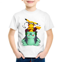 Children Anime Print Naruto Pikachu In Thor Armo Funny T-shirts Kids Summer Tees Boys/Girls Pokemon Go Tops Baby Clothes,HKP5069