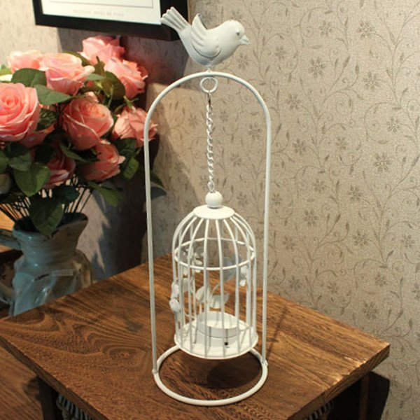 HOT SALE!!! Free Shipping retail and wholesale European style white iron birdcage shape candleholder