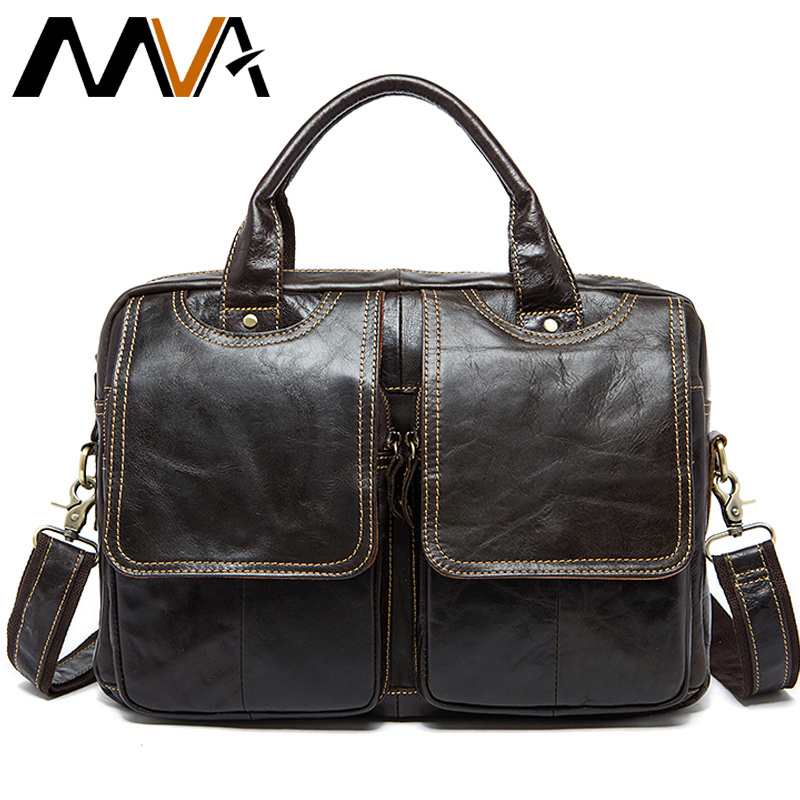 MVA Bags Briefcase-Bag Laptop Business 14inch Genuine-Leather Men's Male For 8002-1