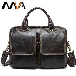 MVA Мужские портфели мужские кожаные мужские сумки для ноутбука 14 дюймов деловые сумки через плечо мужские сумки из натуральной кожи 8002-1