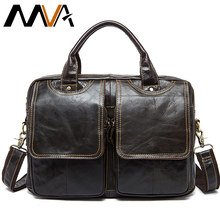 MVA Men's Briefcases bag men's Genuine Leather bags male man 14inch business leather Laptop bag for men briefcases 8002-1(China)