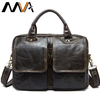 MVA Men's Briefcases bag men's Genuine Leather bags male man 14inch business leather Laptop bag for men briefcases 8002 1