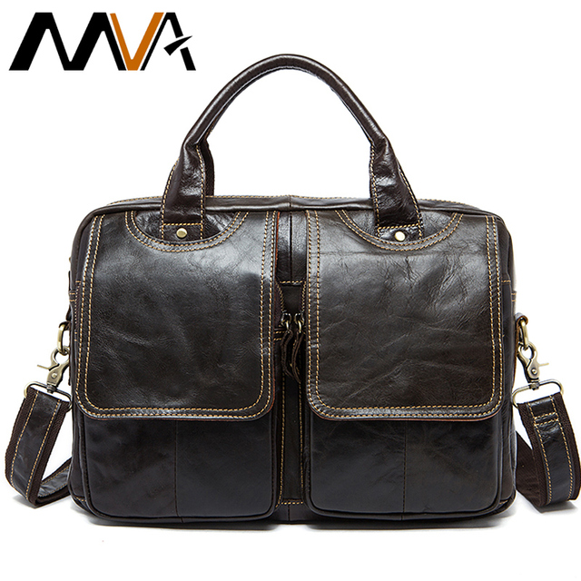 MVA men's bag/briefcase leather office/laptop bag for men's genuine leather bag