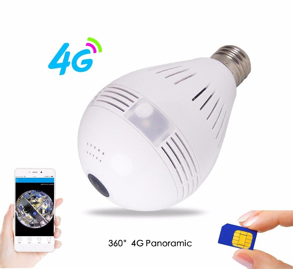 3g 4g Carte SIM Caméra 1080 p 360 degrés VR Audio Sans Fil IP Caméra Ampoule Wi-fi FishEye Maison sécurité WiFi Caméra pour 4g Module