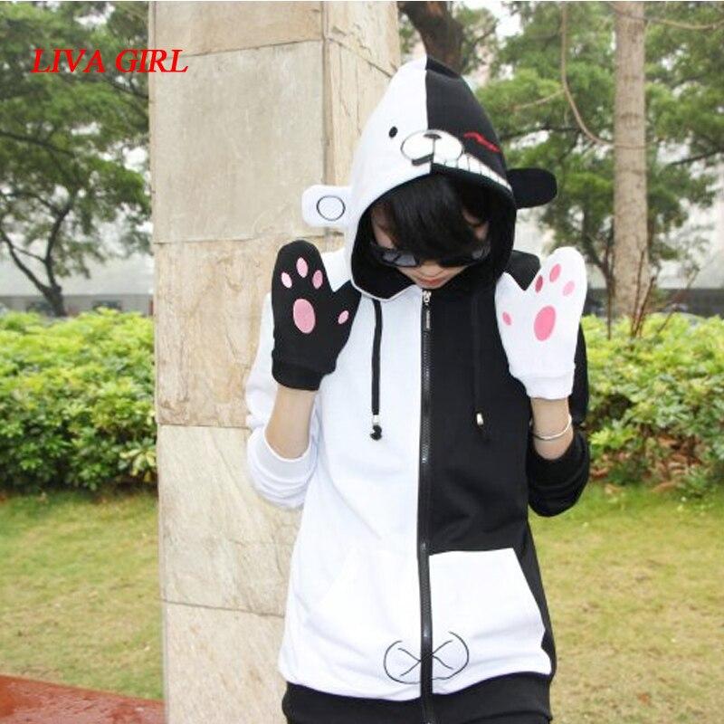 Adult Unisex Danganronpa Monokuma Spring Autumn Cartoon Anime Hoodies Sweatshirt Fleece Cosplay For Woman Pluz Size