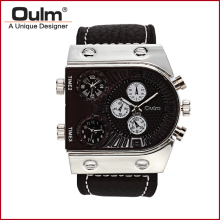 Luxury Watch Brand Oulm Quartz Military fashion Watch with 3-Movt Leather Band for Men leather wristwatch HP9315PNP