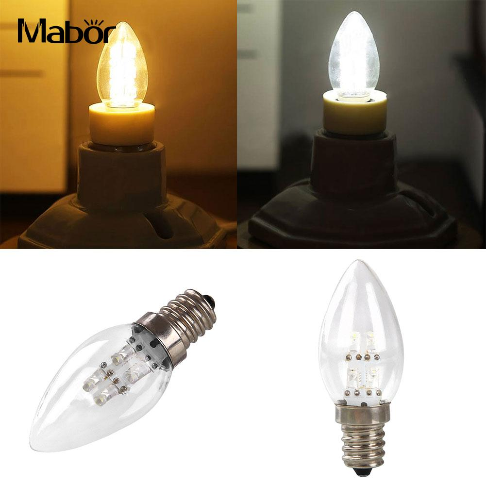 E12 LED 0.5W Candle Light Bulb Lamp DC 80LM White/Warm White Lighting Color*