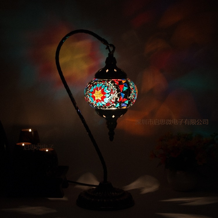 Turkey Mosaic Table Lamp Mediterranean style Art Deco Handcrafted mosaic Glass romantic bed lighting bison rolling grill