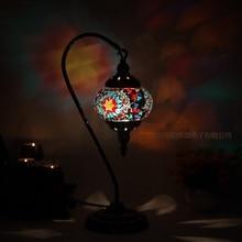Türkische mosaik tisch Lampe vintage art deco Handarbeit lamparas de mesa mosaik Glas romantische bett licht lamparas con mosaicos