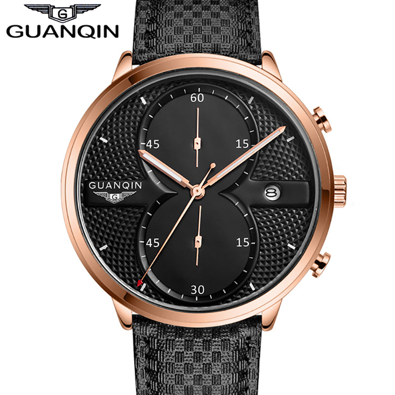 2016 New Fashion Watches Men Luxury Top Brand GUANQIN Big Dial Full Black Sport Quartz Watch Male Wristwatch With Stopwatch цена