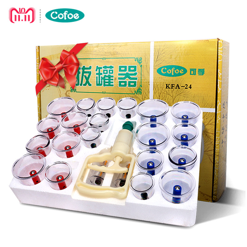 Cofoe 24PCS Cupping Set Vacuum Family Body Massager of Chinese Medical for Cold & Flu Relief Vancuum Cups or Clearing damp toxin розетка legrand valena in