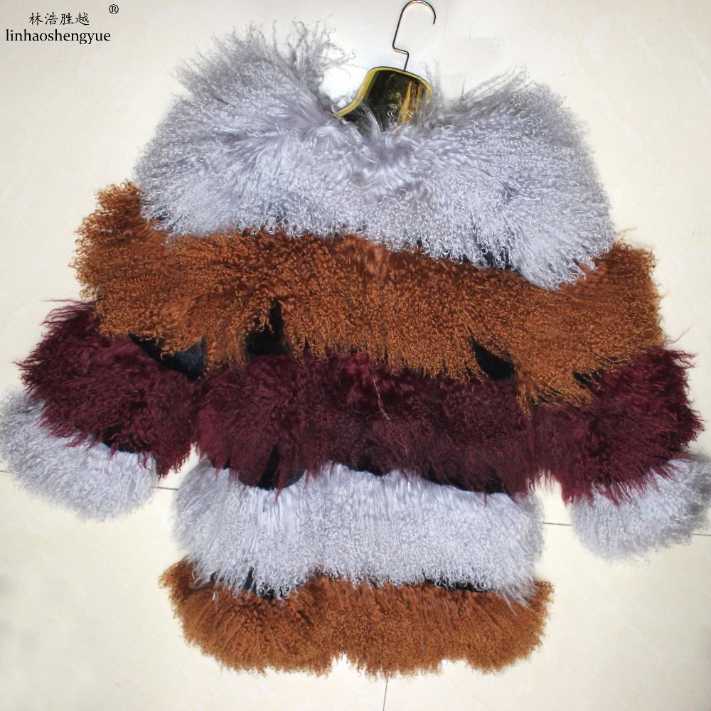 Femmes Mode Manteau De Linhaoshengyue Fourrure D'hiver Moutons Color1 Chaud Mongolie dxZwnqPv