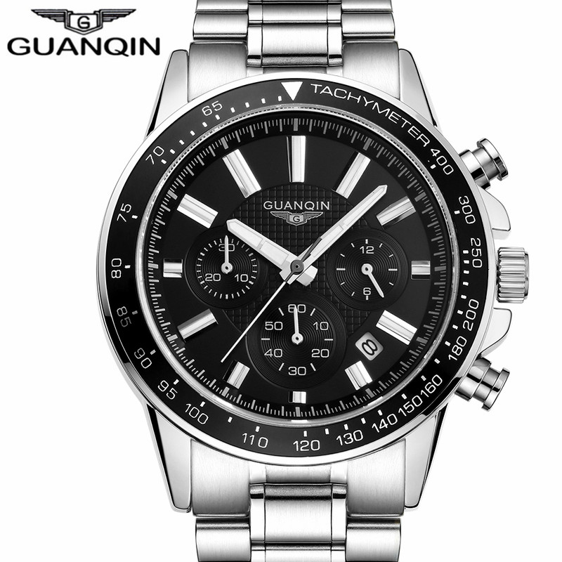 relogio masculino GUANQIN Mens Watches Top Brand Luxury Chronograph Quartz Watch Men Business Full Steel Waterproof Wristwatch guanqin mens watches top brand luxury casual quartz watch men full steel auto date waterproof wristwatch relogio masculino