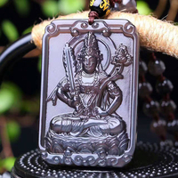 Wholesale Ice Blak Square Natural Obsidian Zodiac Protect God Buddha Pendant Necklace Sweater Chain Benming Year Crystal Jewelry