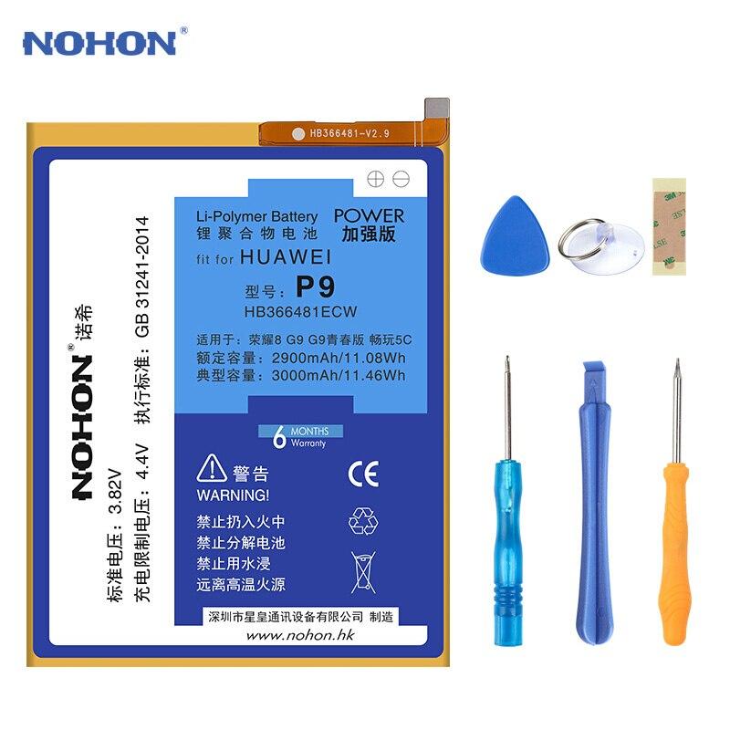 NOHON Batterie HB366481ECW Für Huawei P9 G9 G9 Lite Ehre 8 5C EVA-L19 3000 mAh Original Ersatz Lithium-Polymer Batterien