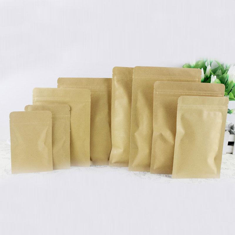 300pcs Flat Brown Gift Bag Paper Kraft Bag Aluminum Foil For Wedding/Candy/Tea Kraft Bags Craft No Stand Up Ziplock Packing Bag
