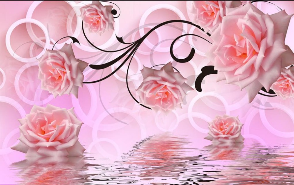 Stores That Have 3d Wallpaper Pink Rose 3d Stereoscopic Television Wall 3d Wallpaper