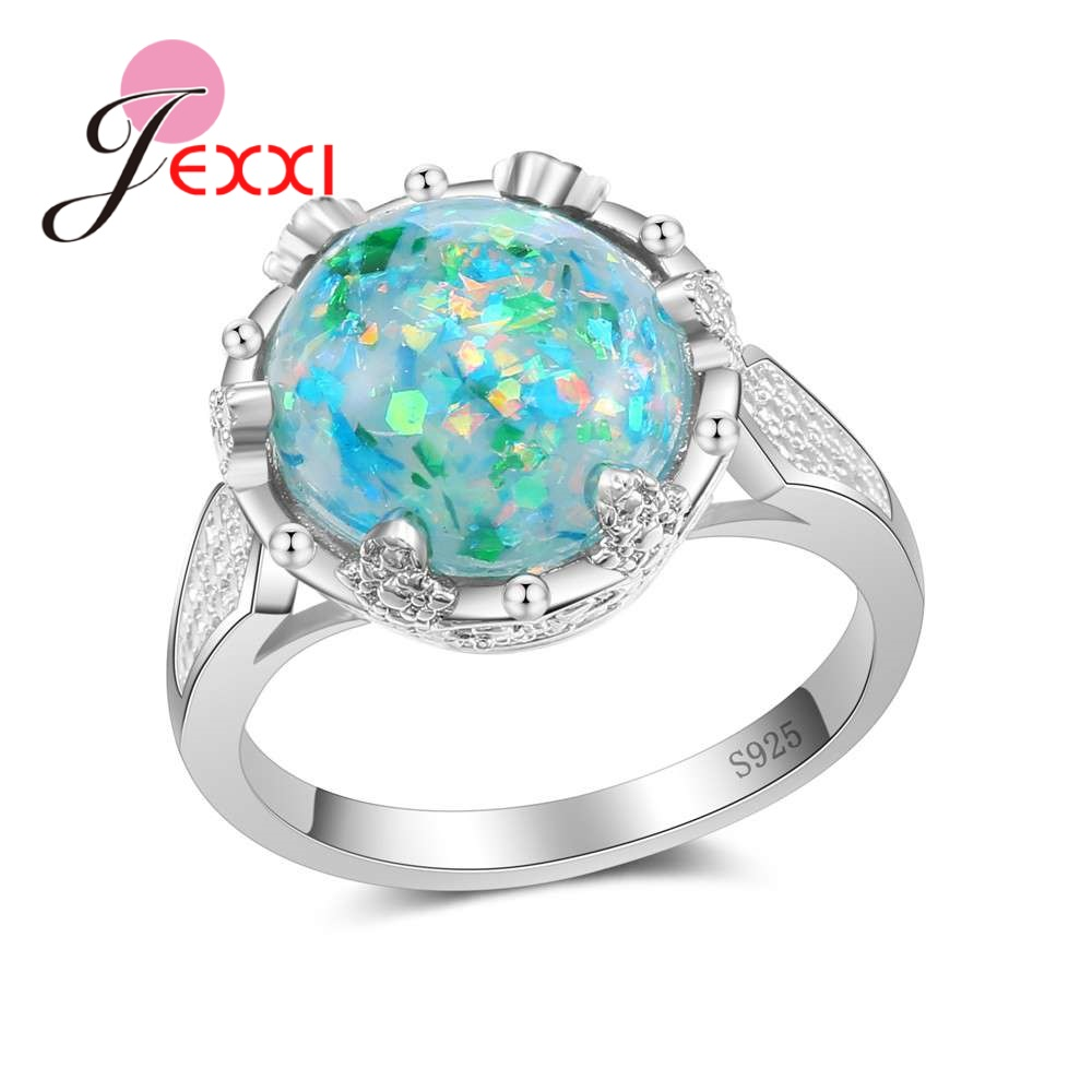 JEXXI Colorful Big Round Opal Ring For Beautiful Women Classic Gifts 925 Sterling Silver Crystal Special Anniversary Pretty Item