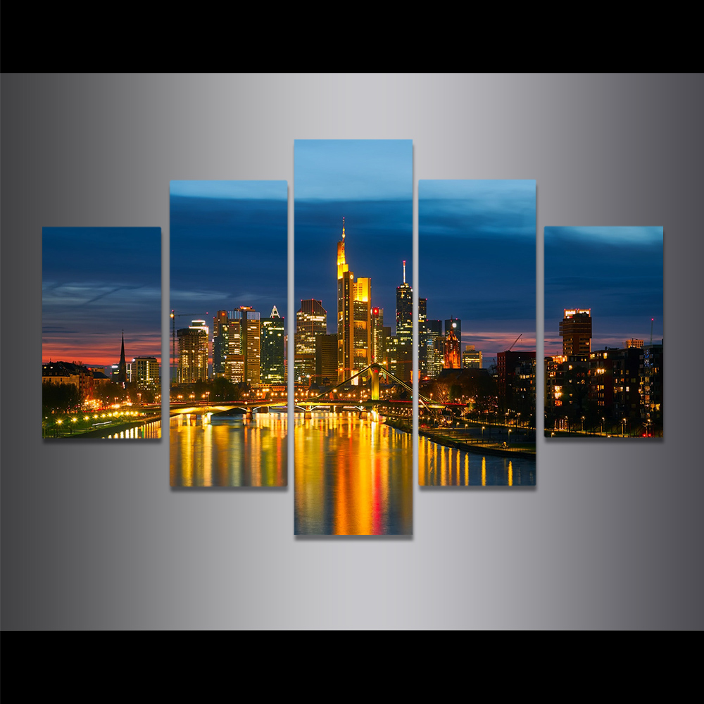 Unframed HD Canvas Painting City Night Scene Skyscrapers Light Picture Prints Wall Picture For Living Room Wall Art Decoration